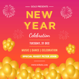 Online Editable New Year Celebration Invitation with Balloons and Crackers Instagram Post