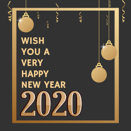 Online Editable New Year Greeting with Decorative Balls Instagram Post