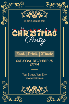 Online Editable Christmas Party Invitation with Floral Design Tumblr Graphic