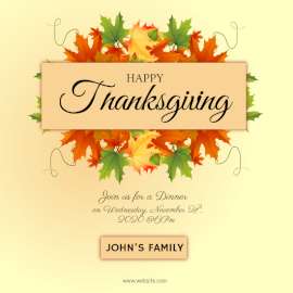 Online Editable Thanksgiving Dinner Design with Autumn Leaves Social Media Post