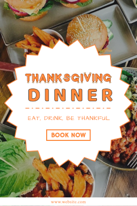 Online Editable Thanksgiving Dinner Book Now Ad Design Tumblr Graphic