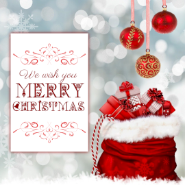 Online Editable Christmas Greeting Card With Christmas Ornaments Social Media Post