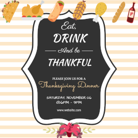 Online Editable Thanksgiving Food Party Invitation with Food Icons Instagram Post