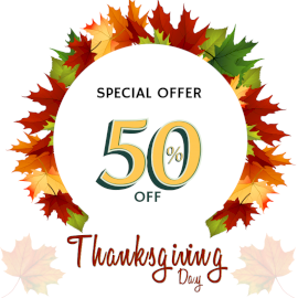Online Editable Thanksgiving Day Sale Design with Autumn Leaves Social Media Post
