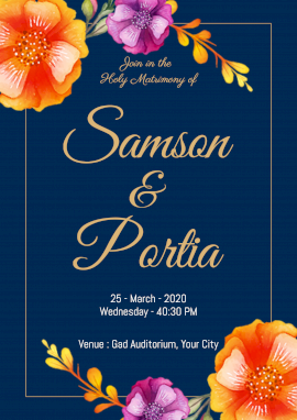 Online Editable Holy Matrimony Invitation Poster