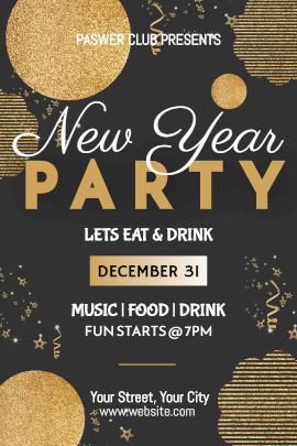 Online Editable New Year Party Invitation with Glittering Shapes and Patterns Tumblr Graphic