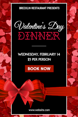 Online Editable Valentine's Day Dinner Party with Little Hearts Pinterest Graphic