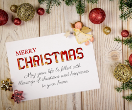 Online Editable Merry Christmas Wish Sticker and Ornaments on Wooden Table Facebook Post