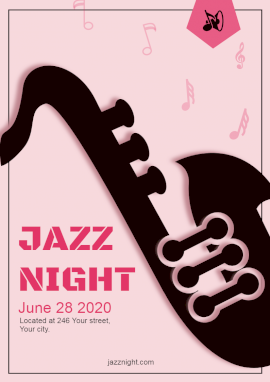 Online Editable Jazz Music Night Party Flyer Marketing Materials