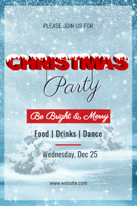 Online Editable Christmas Party Invitation with Snow Fall Tumblr Graphic