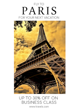 Online Editable Paris Holiday Packages Flyer Marketing Materials