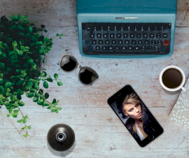Online Editable Blue Photo on Table Photo Mockup