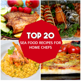 Online Editable Sea Food Recipe Ad Design With Different Dishes Instagram post