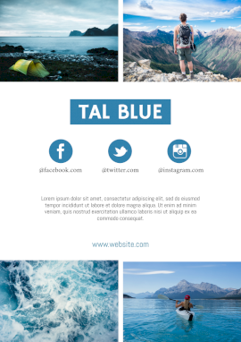 Online Editable Tal Blue Informative Design with Photography Media Kit