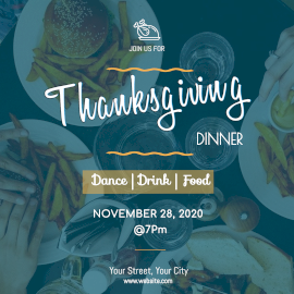 Online Editable Thanksgiving Party Design wIth Food Display Instagram Post