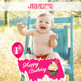 Online Editable 1st Birthday Greeting with 3D text Instagram Post