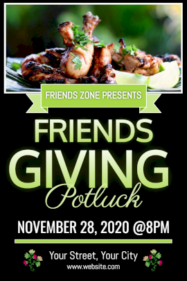 Online Editable Friendsgiving Party Invitation with a Potluck Dish Pinterest Graphic