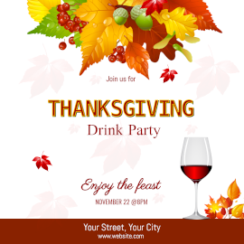 Online Editable Thanksgiving Drink Party Invitation with Autumn Leaves Instagram Post