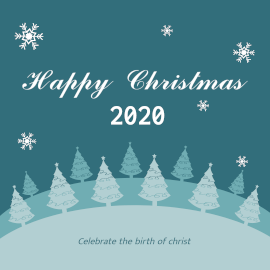 Online Editable Happy Christmas Greeting Design with Decorative Christmas Trees Instagram Post