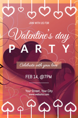 Online Editable Valentine's Day Party Invitation with Heart Patterns Pinterest Graphic