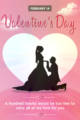 Online Editable Valentine's Day Card Design with a Couple silhouette Pinterest Graphic