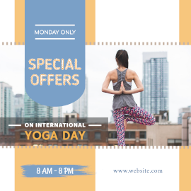 Online Editable International Yoga Day Design with High-Res Image Instagram Post