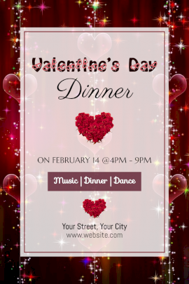 Online Editable Valentine's Day Dinner Party Invitation Pinterest Graphic