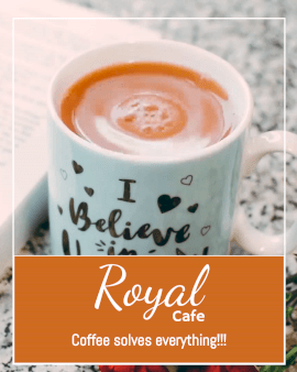 Online Editable Royal Cafe Advertisement with Coffee Movement Cinemagraph