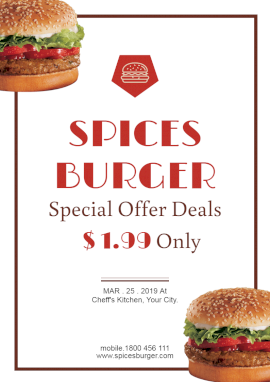 Online Editable Spicy Burger Flyer Marketing Material