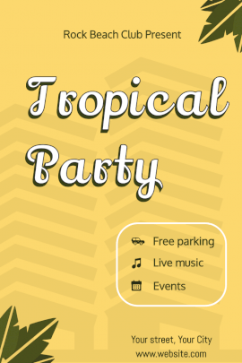 Online Editable Tropical Beach Party Pinterest Graphic