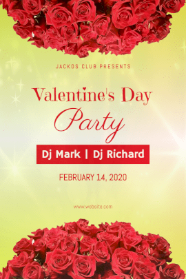Online Editable Valentine's Day February 14 Party Invitation Pinterest Graphic