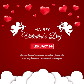 Online Editable Happy Valentine's Day Greeting on February 14 Instagram Post