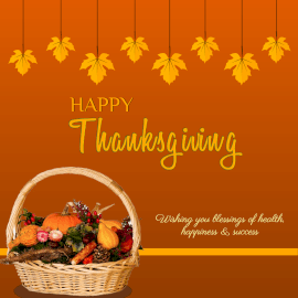 Online Editable Thanksgiving Greeting With A Fruit Basket Instagram Post