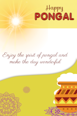 Online Editable Pongal Greeting Card Pinterest Graphic