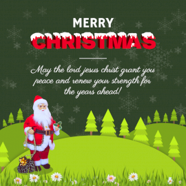 Online Editable Snow Covered Merry Christmas Greeting Social Media Post
