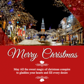 Online Editable Merry Christmas Wishes with Lighted Houses Social Media Post