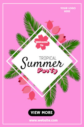 Online Editable Tropical Summer Party Pinterest Graphic