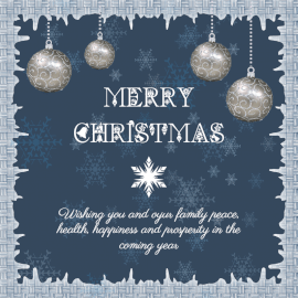 Online Editable Frosty Frame Merry Christmas Wishes Social Media Post