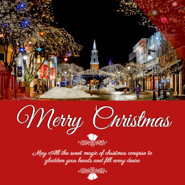 Online Editable Merry Christmas Wishes with Lighted Houses Instagram Post
