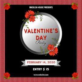 Online Editable Red Rose Valentine's Day Party Instagram Post
