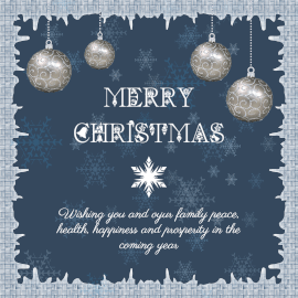 Online Editable Blue Frosty Frame Merry Christmas Wishes Instagram Post