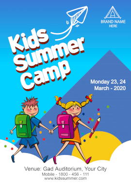 Online Editable Summer Programs for Kids Poster