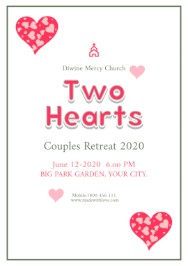 Online Editable Two Hearts Couples Retreat Flyer Marketing Materials