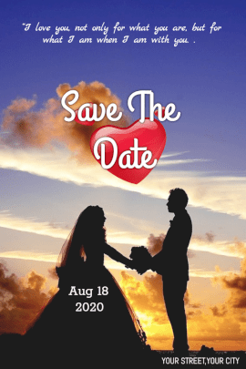 Online Editable Save the Date Pinterest Graphic