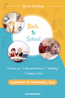 Online Editable Back to School Event Pinterest Graphic