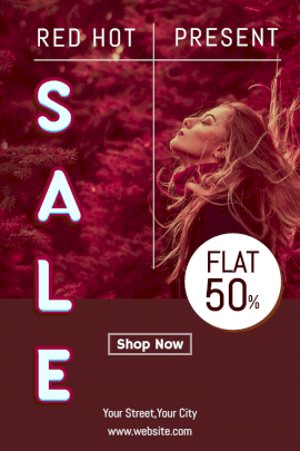Online Editable Red Hot Sale Pinterest Graphic