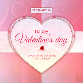 Online Editable Valentine's Day February 14 Hearts and Roses Social Media Post