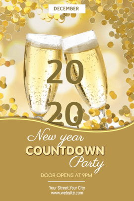 Online Editable Yellow New Year Party Tumblr Graphic