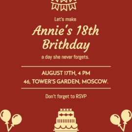 Online Editable Brown Birthday Party Invitation