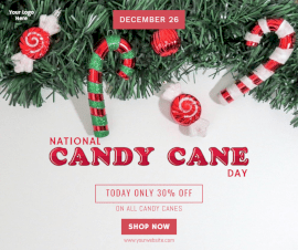 Online Editable National Candy Cane Day December 26 Facebook Post